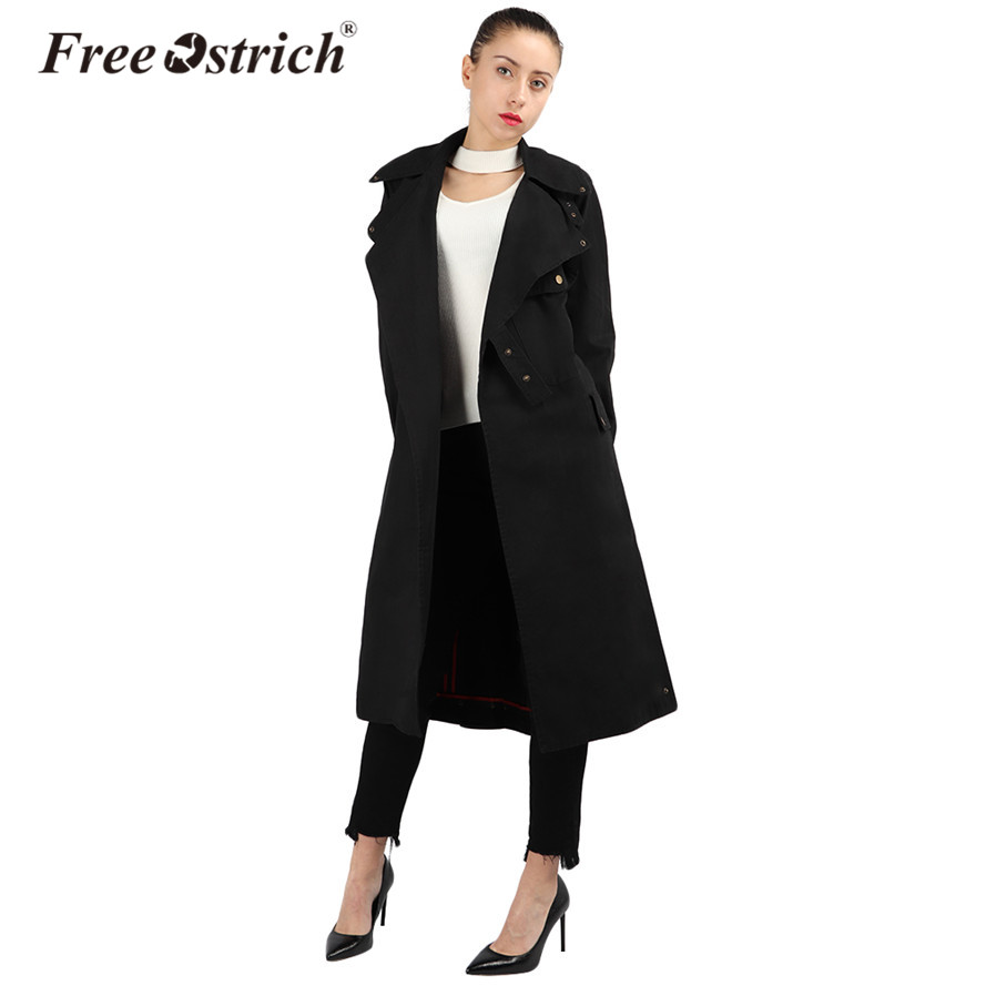 Free Ostrich 2019   Trench   Coat Women Cotton Army Green Black Outerwear Turn Down Collar Autumn Loose Clothing High Quality Sep15