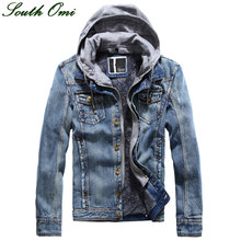 Hooded Denim Jacket suit jackets and coats for men thick Velvet Casual Jeans Menswear