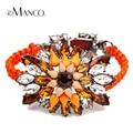 Rhinestone big flower design charme pulseiras cadeia corda 2016 eManco BL04166 multicolor tecido pulseira mulheres pulseiras da moda
