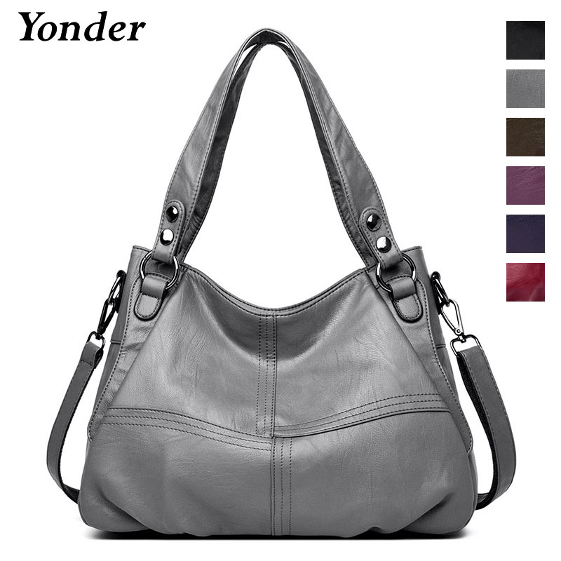 Yonder genuine leather shoulder bag female designer handbags women bags large capacity casual tote bag fashion ladies bags gray