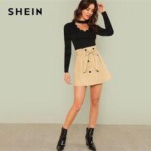 SHEIN Black Workwear Elegant Scallop Trim Solid V Neck Long Sleeve Skinny Tee 2018 New Autumn Minimalist Women T shirt And Top