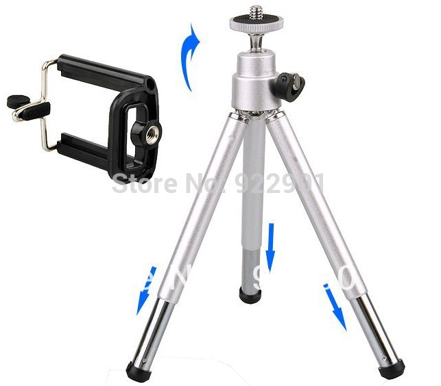 iphone camera stand silver color mini tripod stand holder for mobile 8863