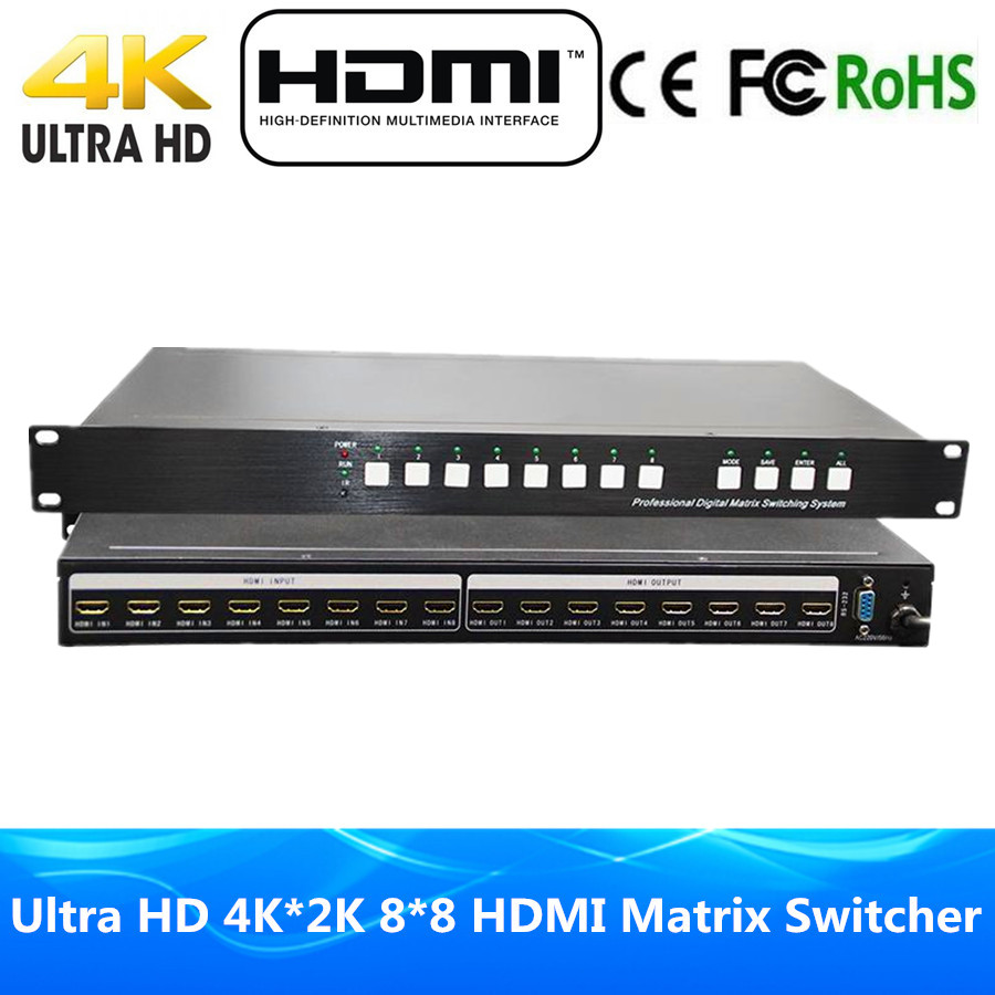 DHL Free Shipping High Quality 8 In 8 Out HDMI Matrix 8x8 RS232 & IR Romote Control HDMI Switcher Ultra 4Kx2K Full HD 1080P 3D rs 4 in 1 4 in 1 toner cartridge chip resetter for samsung free shipping by dhl