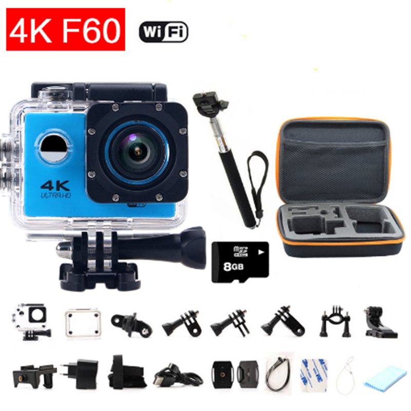 Action Camera F60/F60R 2.4G remote ultra hd 4K 12mp action video camera waterproof extreme go pro style Sport Camera+extra set f88 action camera black