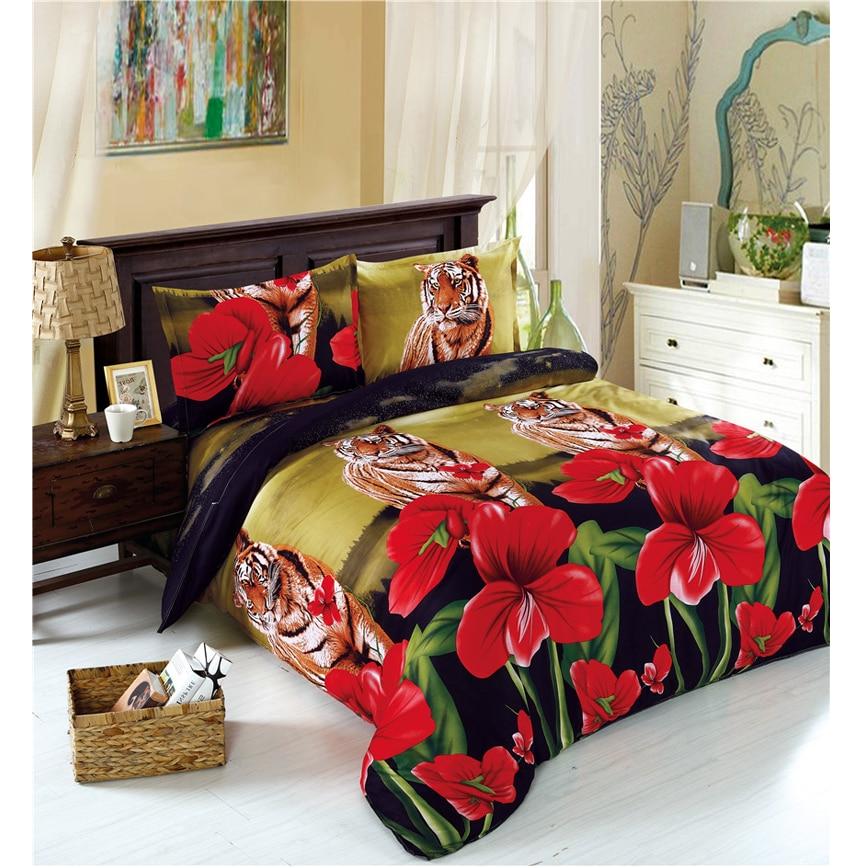 4Pcs 3D Bedding Set Tiger Flowers Print Duvet Cover Set Comforter Cover Flat Sheet Bed Linens Bedsheet Pillowcase Home Decor J45