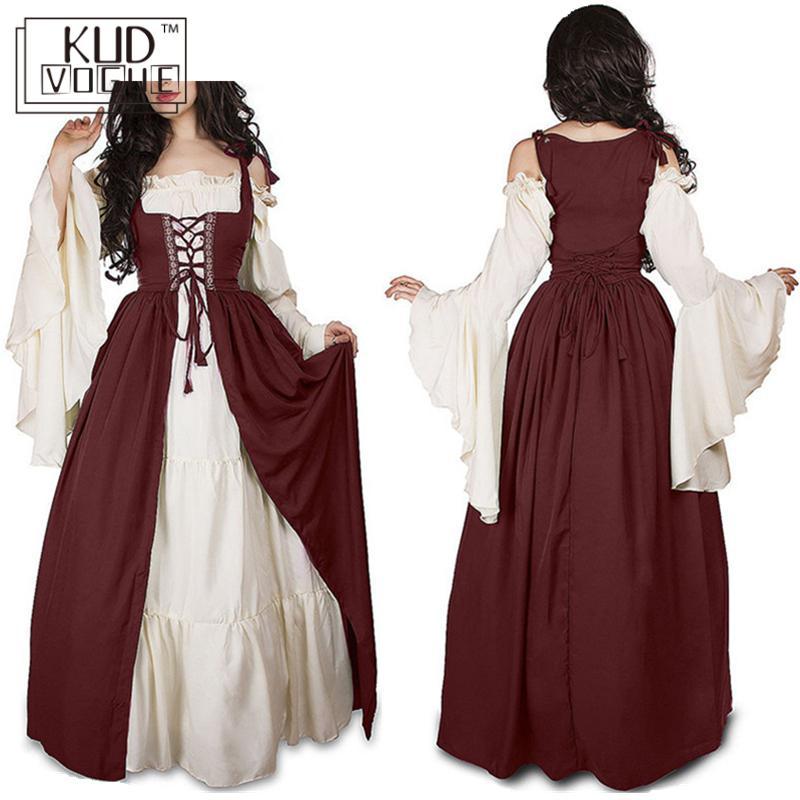 Vintage robe col carré reliure Girdling médiévale Renaissance robe robe de soirée épissure Expansion jupe grande taille 5xl 5822