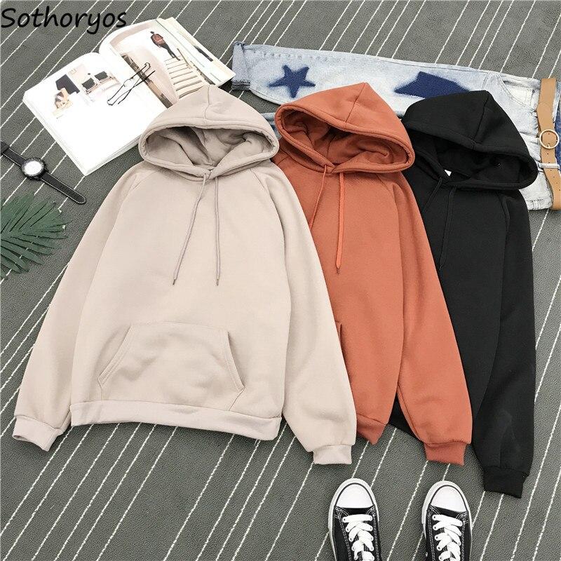 Hoodies Women 2020 Hooded Leisure Solid Simple All-match Soft Thicker Plus Velvet Sweatshirts Womens Korean Style Harajuku Cute