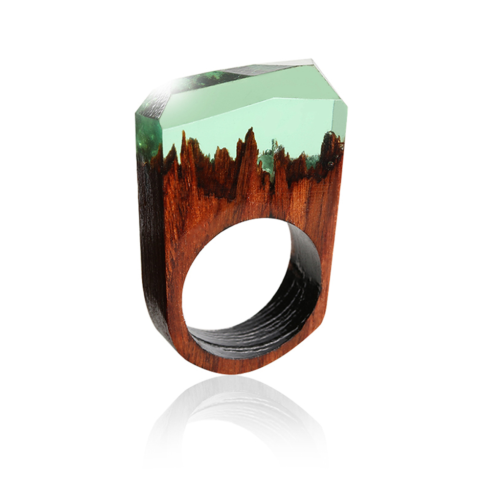 1pc Handmade Wood Resin Ring With Magnificent Fantasy