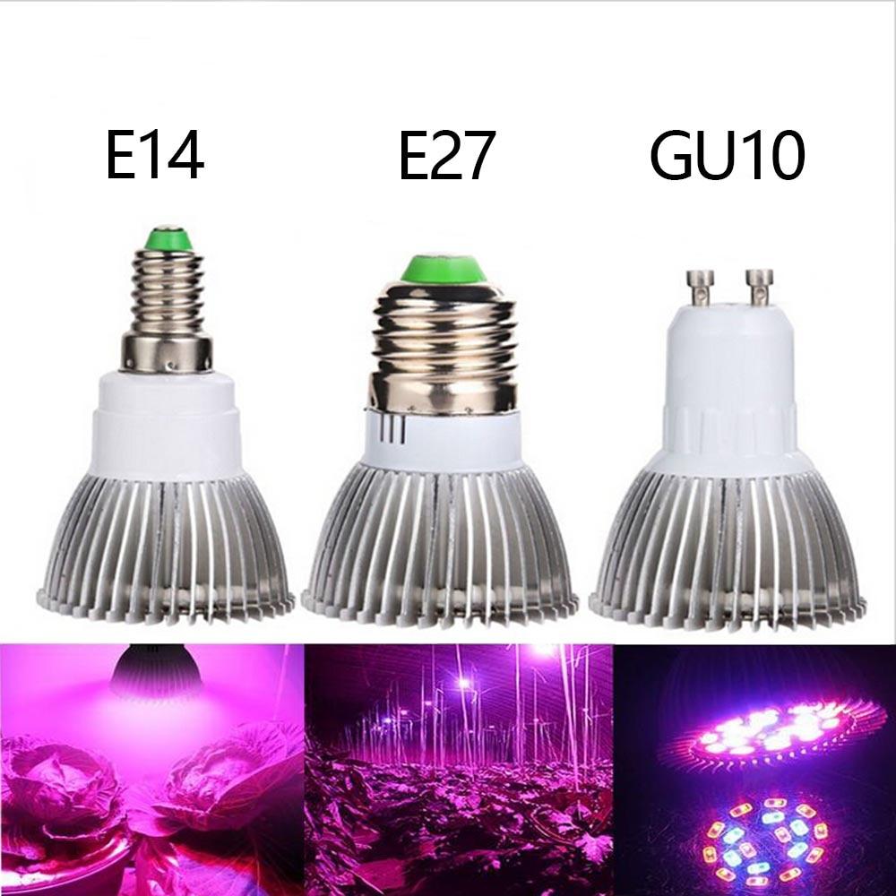 E27 E14 Gu10 18w Led Grow Light 18leds Red Blue Plant