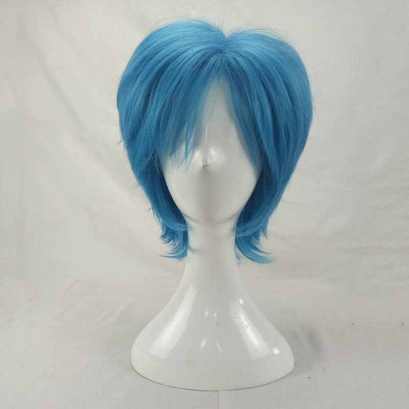HAIRJOY Synthetic Hair Man Mint Green Layered Short Straight Male Cosplay Wig Free Shipping 5 Colors Available 53