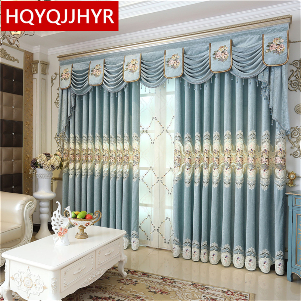 Hot european royal palace luxury embroidered curtains for for Hotel drapes for sale