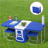 Smartlife Multi Function Rolling Cooler with Table and 2 Chairs Picnic Camping Outdoor Picnic Table and Chairs Car Cooler