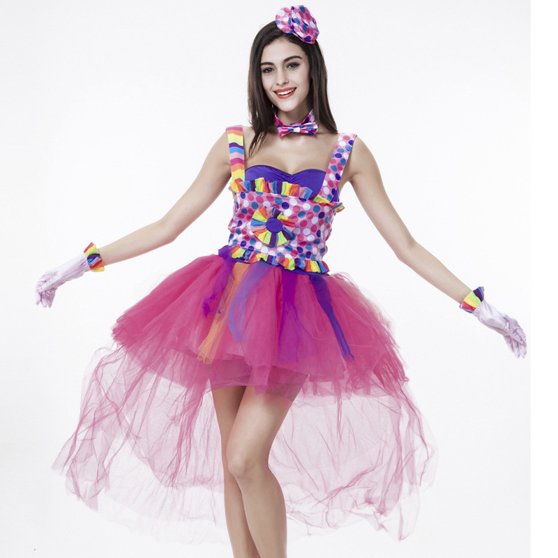funny naughty candy color halloween fancy dress outfit women cosplay costume dance performance club clown costumes - Halloween Naughty Costumes