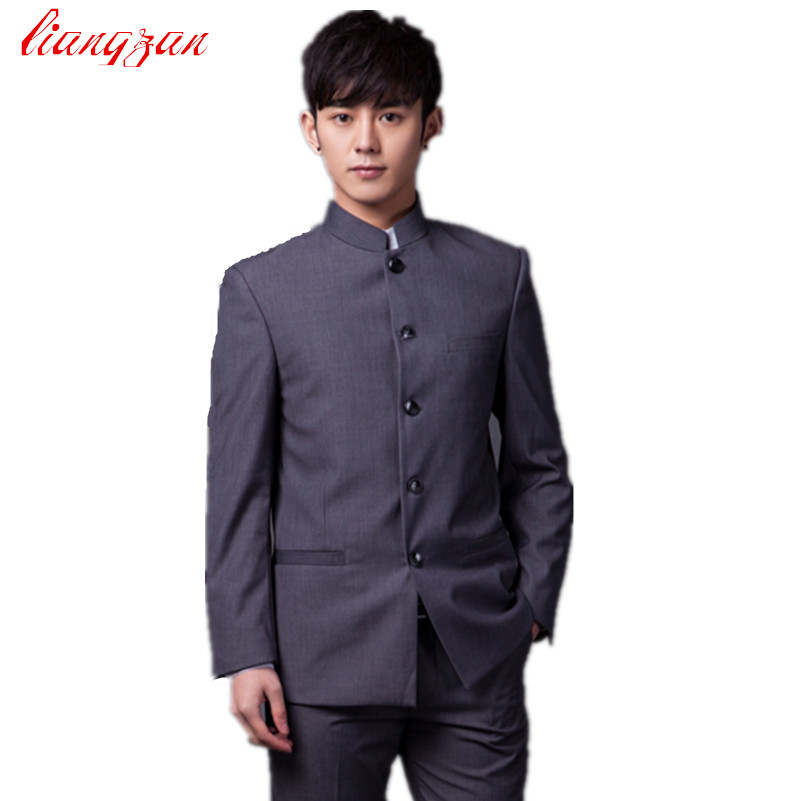 Jackets+Pants) Men Chinese Tunic Suit Sets Slim Fit Cotton Party ...