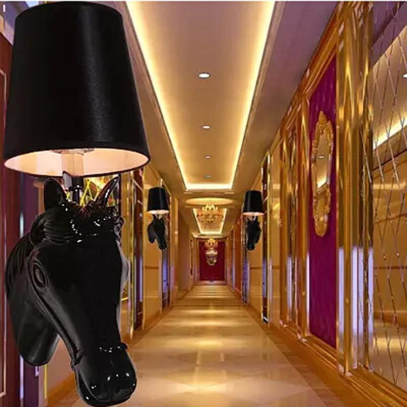 Abajur Horse Shape Resin Modern Wall Lamp Led Light For