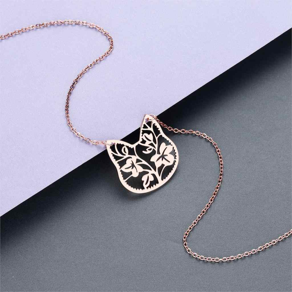 2019 Stainless Steel Women's Necklace Simple Love Cat Moon World Map Geometric Statement Jewelry Pendant Necklace Girls Gift