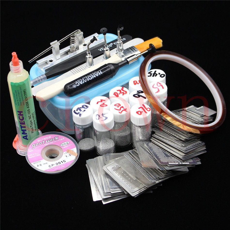110pcs BGA Reballing Directly Heat Stencils + Solder Paste Balls Station BGA Reballing Kit For SMT Rework Repair