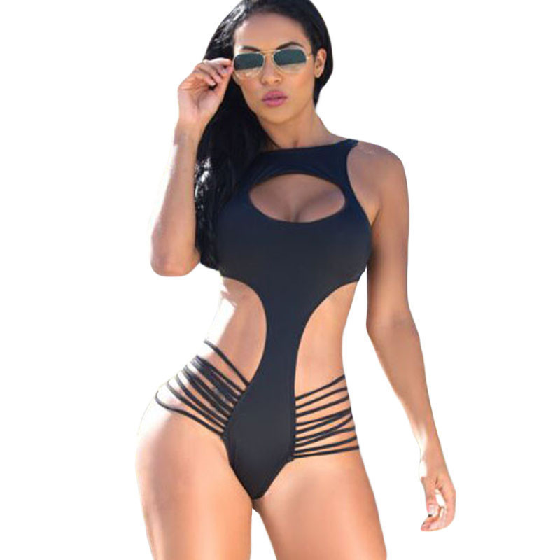 Cut Out One Piece Swimsuit Black Friday 2017 Open Front Monokini Swimsuit One-Piece Swimwear Summer Women Beachwear Bathing Suit fashionable strappy printed cut out one piece swimsuit for women