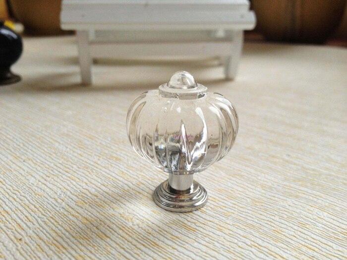 20pcs clear crystal kitchen cabinet knobs and handles dresser cupboard door acrylic knob pulls pumpkin shape - Kitchen Knobs