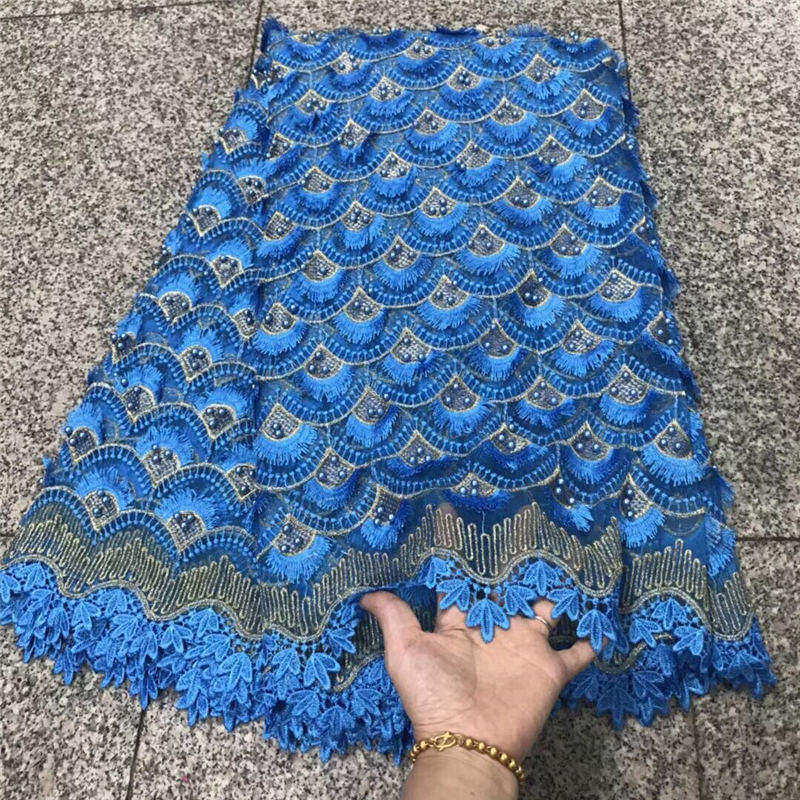 Blue Color African Beaded Lace Fabric 2018 Top Quality Lace Material French Lace Fabric Nigerian Tulle Mesh Lace Fabrics 30Blue Color African Beaded Lace Fabric 2018 Top Quality Lace Material French Lace Fabric Nigerian Tulle Mesh Lace Fabrics 30