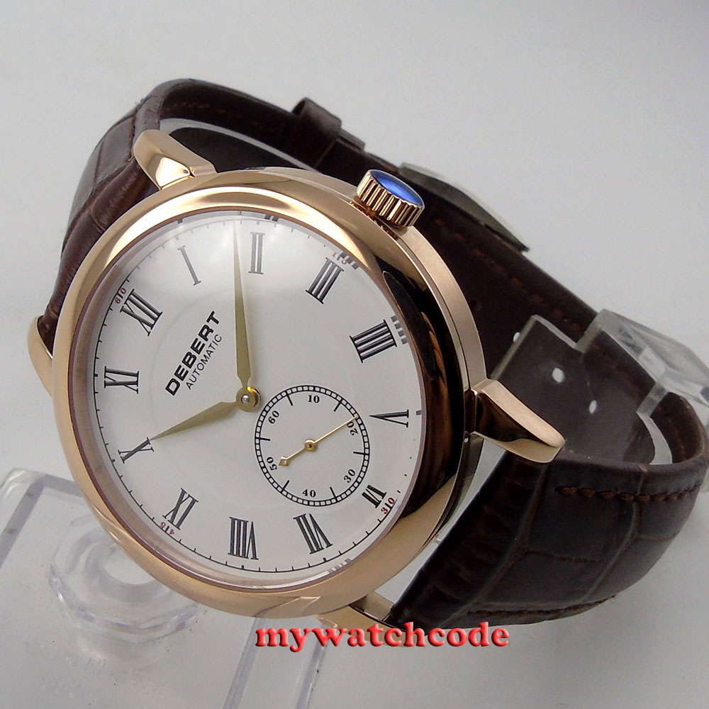 цена на 40mm Debert white dial Roman marks rose gold case Automatic mens Watch D30