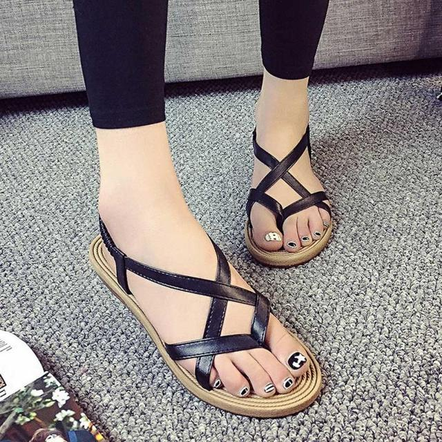 Womens Flat Sandals - Ladies Summer Bohemia Peep-Toe Bandage Sandals Ankle Wrap Shoes