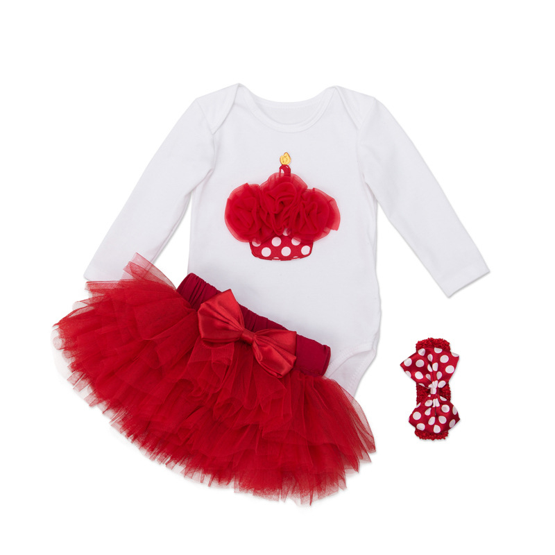 Newborn Tutu Sets Birthday Cake Ice Cream Decor Infant Clothing Red Polka Dot Headband+Bodysuit+TUTU Skirt 3pcs/set Bebe Clothes