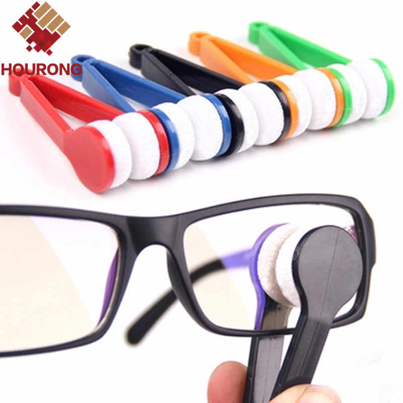 HOURONG 5Pc 7cm x 2cm x 2cm Home cleaning tools Brush cleaner New arrival microfiber brush plastic handle Eye glass cleaner