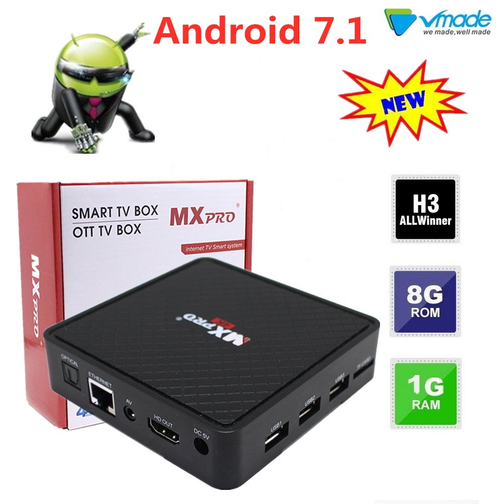 Vmade Android 7.0 OS Allwinner-H3 TV BOX octa core 1+8G 4K Full HD Media Player 2.4G Wifi Smart Set Top TV Box in set top boxes
