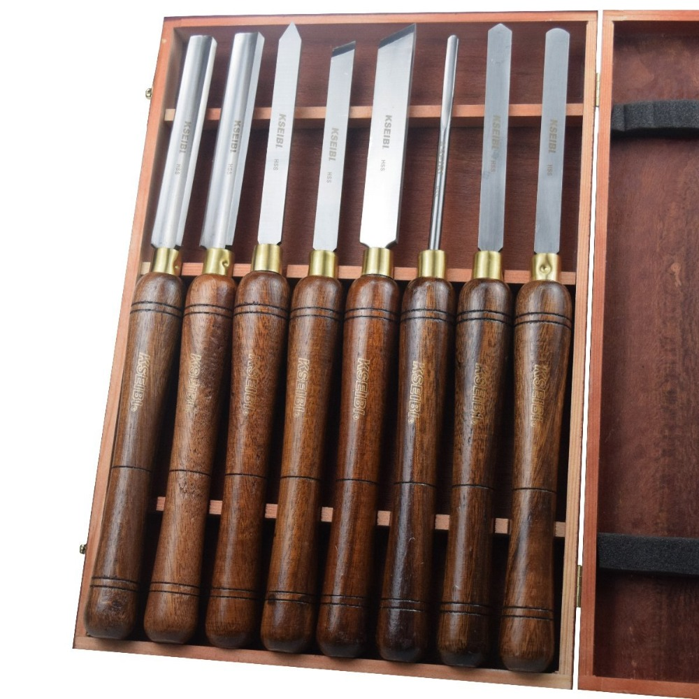 KSEIBI 312135 Industrial M2 HSS High Speed Steel Wood Turning Lathe Tools Chisel Gouge Woodworking Set ash Handles 8 Pcs Chisels