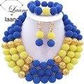 Joyería De Perlas africanas Boda Nigeriano Perlas Africanas laanc AL054 Azul y Amarillo