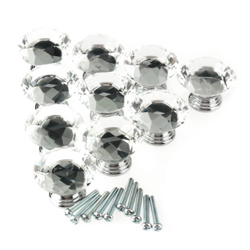 10Pcs 40mm Crystal Glass Diamond Shape Cabinet Knob Drawer