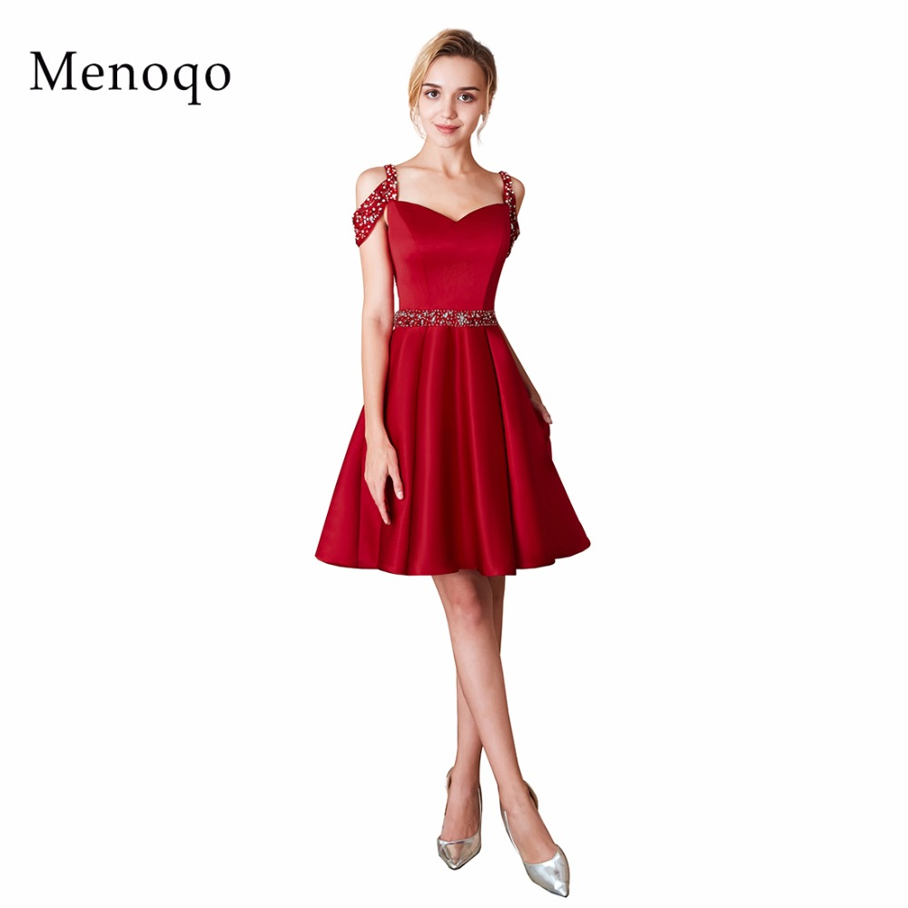 2019 homecoming dress cheap a line mini beaded cocktail party dress above knee cheap short satin homecoming dress a-line