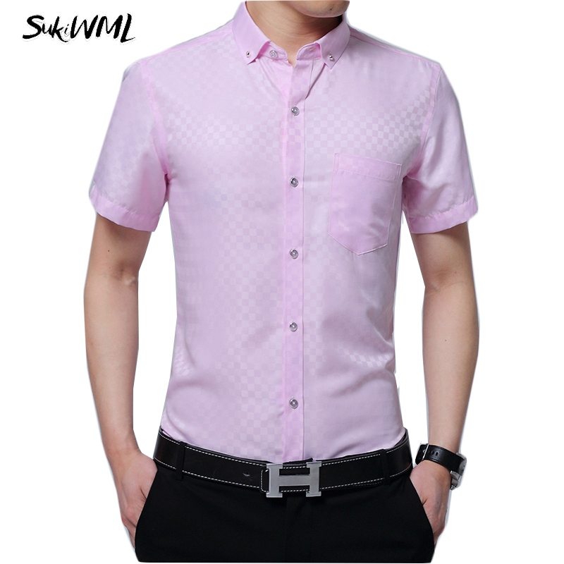 SUKIWML Business Shirts Men 2018 Summer Short Sleeves Men Dress Shirts Slim Fit Wedding Social Casual Shirt Male Plus Size M-5XL ...