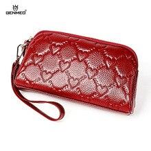 GENMEO New Heart Pattern Genuine Leather Wallet Women Cowhide Clutch Bag Female Coin Purse with Hand Strap Bolsa Feminina
