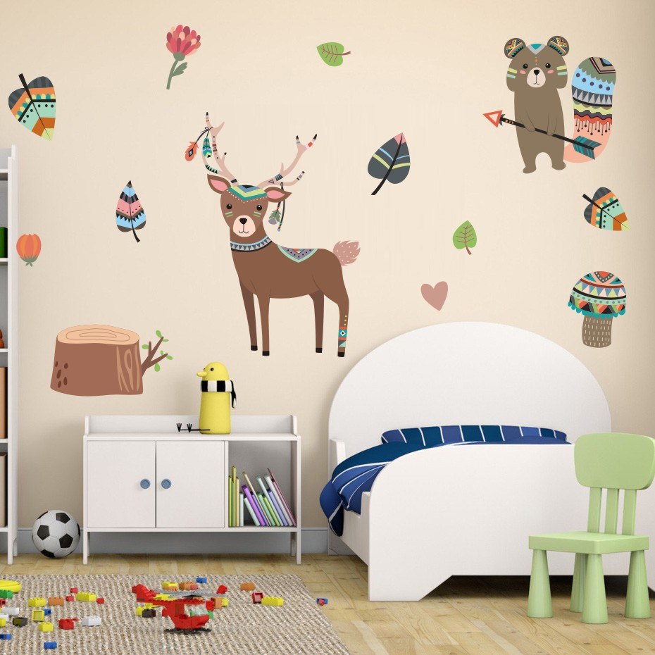 Nordic fox deer wall stickers nursery removable diy wall - Childrens bedroom wall stickers removable ...