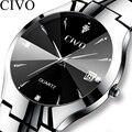 Роскошные часы CIVO для пар  черные  серебристые  полностью стальные  водонепроницаемые  с датой  кварцевые часы для мужчин и женщин  часы в под...