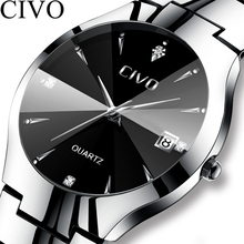 CIVO Luxury Couple Watches Black Silver Full Steel Waterproof Date Quartz Watch