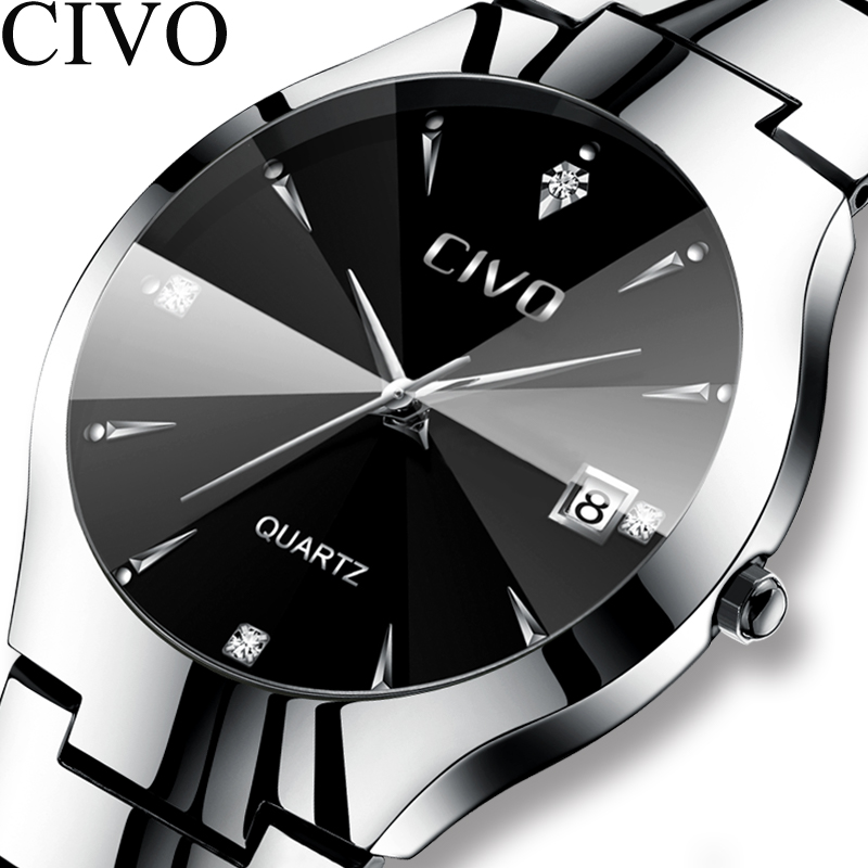 CIVO Luxury Couple Watches Black Silver Full Steel Waterproof Date Quartz Watch Men For Man Women Clock Gift For Lover Wife in Quartz Watches from Watches