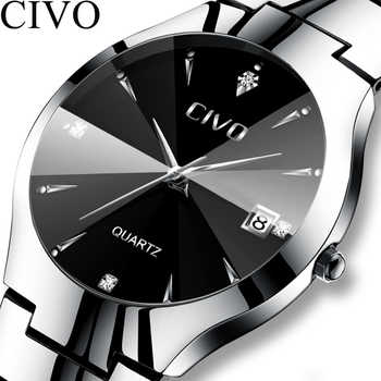CIVO Luxury Couple Watches Black Silver Full Steel Waterproof Date Quartz Watch Men For Man Women Clock Gift For Lover Wife - DISCOUNT ITEM  84% OFF All Category