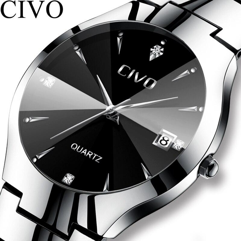 Civo luxo casal relógios preto prata completa aço data à prova dwaterproof água relógio de quartzo masculino para homem mulher presente relógio para amante esposa