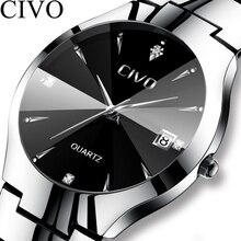 Civo 럭셔리 커플 시계 블랙 실버 전체 철강 방수 날짜 쿼츠 시계 남자 남자 여자 시계 연인 아내를위한 선물