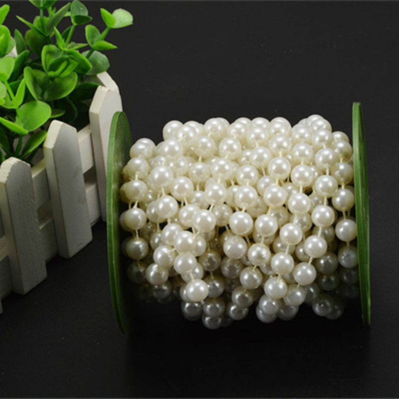 White Pearl Beads Strand Garland Acrylic Wedding Pearl: 10m 8mm ABS Plastic Faux Pearl Beads Strands Wedding