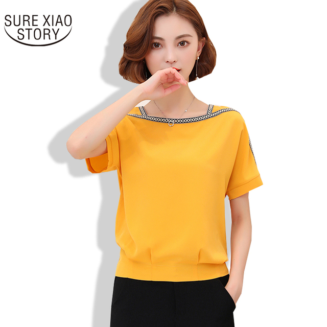 255d68b087073 New Arrival 2017 Large Size Ladies Short Sleeve Chiffon Summer Unlined  Upper Garment Female Casual Joker Loose Blusas 513G 30
