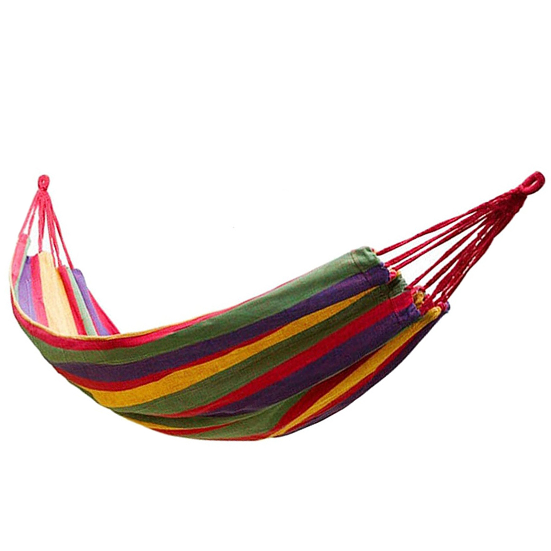 Portable Hammock Outdoor Hammock Garden Sports Home Travel Camping Swing Canvas Stripe Hang Bed Hammock Red цена