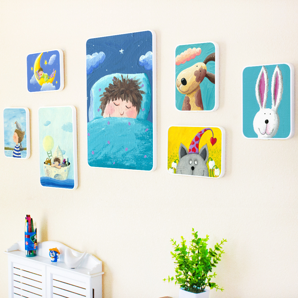 Creative Children Cartoon Wooden Photo Frame Set Wall Hanging Picture Frame Living Room Bedroom Wall Mural Decoration FurnishingCreative Children Cartoon Wooden Photo Frame Set Wall Hanging Picture Frame Living Room Bedroom Wall Mural Decoration Furnishing