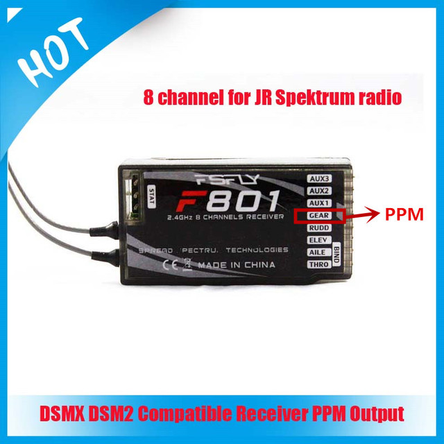 US $26 98 |FSFly 2 4GHz 8CH F801 DSM X DSM 2 rc receiver PPM output for JR  DX8 transmitter-in Parts & Accessories from Toys & Hobbies on