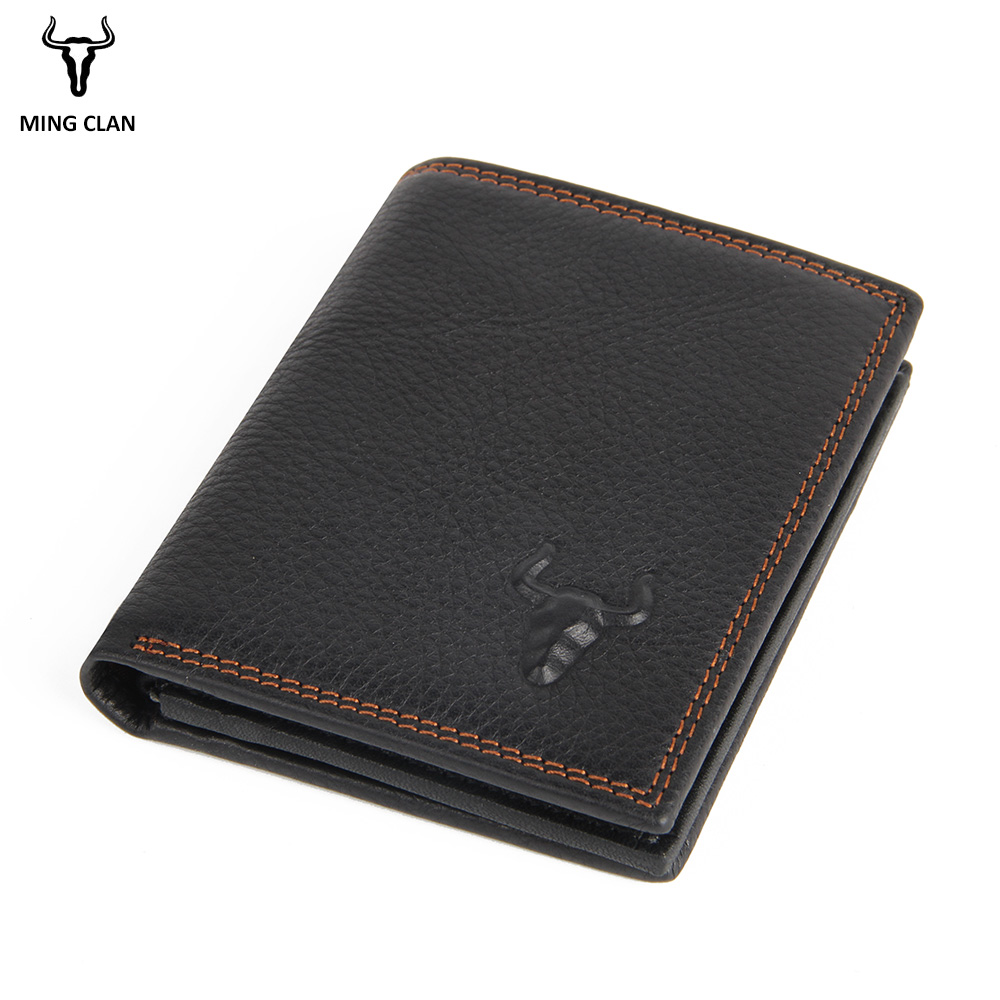 Mingclan Cow Leather Men Short Wallet Genuine Leather Male Small Wallet Purse Standard Card Holders Slim Wallets For Men Pocket genuine leather men wallet super thin leather handmade custom name slim purse men short small wallet card purse male tw1641