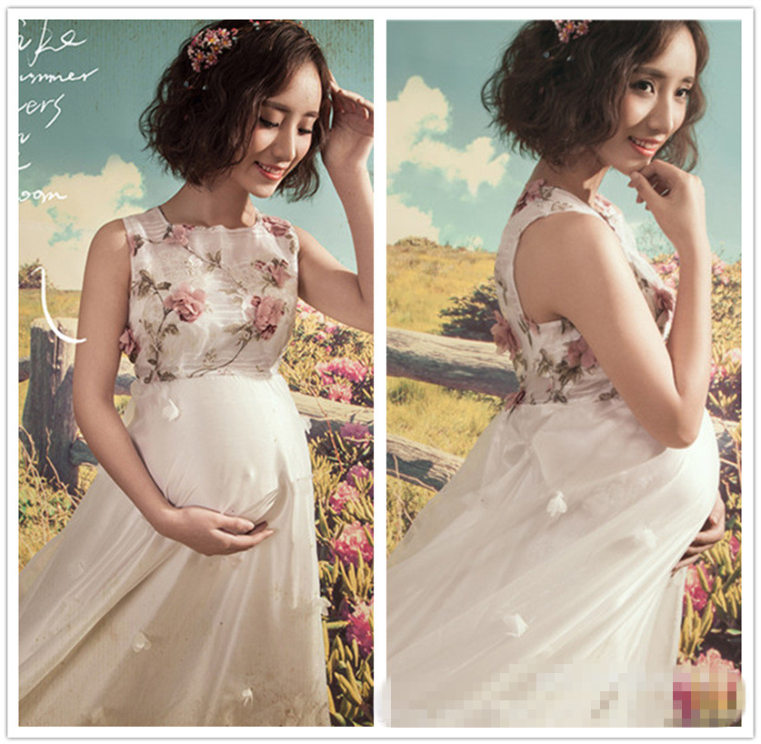 ФОТО Ankle-length Flower Maternity Photography Props Long Pregnancy Dress for Photo Shoot Sleeveless Maternity Gown