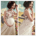 Ankle-length Flower Maternity Photography Props Long Pregnancy Dress for Photo Shoot Sleeveless Maternity Gown